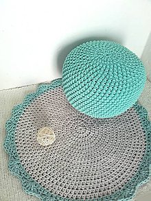 Úžitkový textil - Háčkovaný PUF mätový bavlna - 9342790_
