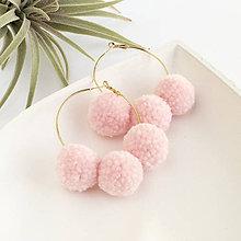 Náušnice - Zlaté kruhové náušnice s brmbolcami - ružové - 9343716_