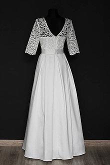 Šaty - Svadobné šaty v retro štýle so skladanou sukňou smotanové - 9342224_