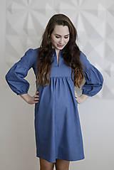 Tehotenské/Na dojčenie - Tehotenské denimové šaty - 9342592_