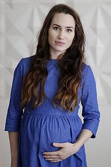 Tehotenské oblečenie - Riflové tehotenské šaty - 9342419_
