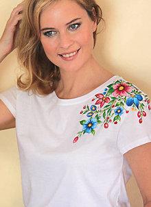 Tričká - Maľované tričko kvetinky... - 9343115_