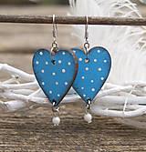 Náušnice - Heart dots // Light blue - 9341768_
