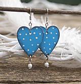 Náušnice - Heart dots // Light blue - 9341779_