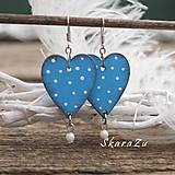 Náušnice - Heart dots // Light blue - 9341796_