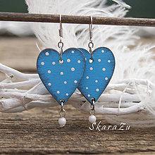 Náušnice - Heart dots light blue - 9341796_