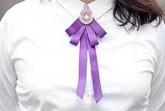 Odznaky/Brošne - Soutache brošňa Esther pod golier - fialová - 9345380_