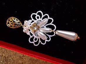 Náušnice - čipkové  svadobné náušnice (Zlatá) - 9344518_