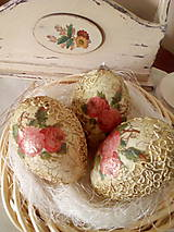 Dekorácie - Sada 3 ks - Vintage vajíčka s ružičkami - 9347001_
