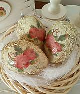 Dekorácie - Sada 3 ks - Vintage vajíčka s ružičkami - 9347002_