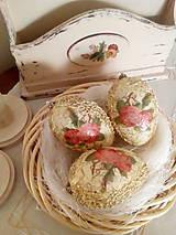 Dekorácie - Sada 3 ks - Vintage vajíčka s ružičkami - 9347003_