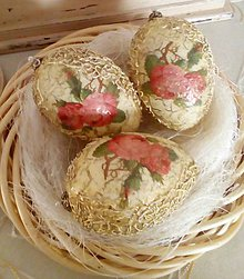 Dekorácie - Vintage vajíčka s ružičkami - 9347004_
