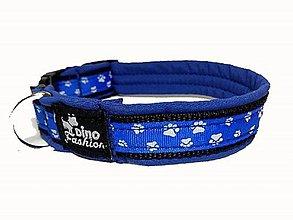 Pre zvieratká - Obojok Labky blue softshell - 9344986_