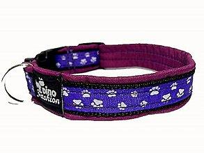 Pre zvieratká - Obojok Labky lila softshell - 9345232_
