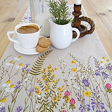 Úžitkový textil - Štóla na stôl - zakvitnutá lúka - 9346586_