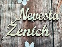 Dekorácie - Nevesta / Ženích - drevené výrezy -cca 30cm - 9347093_