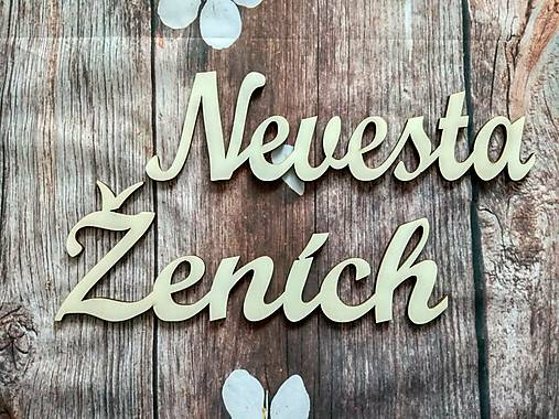 Nevesta / Ženích - drevené výrezy -cca 30cm