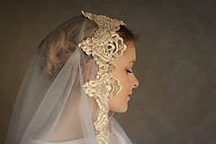 Ozdoby do vlasov - Svadobný závoj bielo - zlatý - 9347114_
