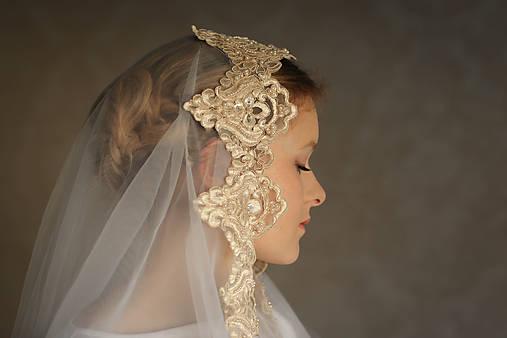 Svadobný závoj bielo - zlatý
