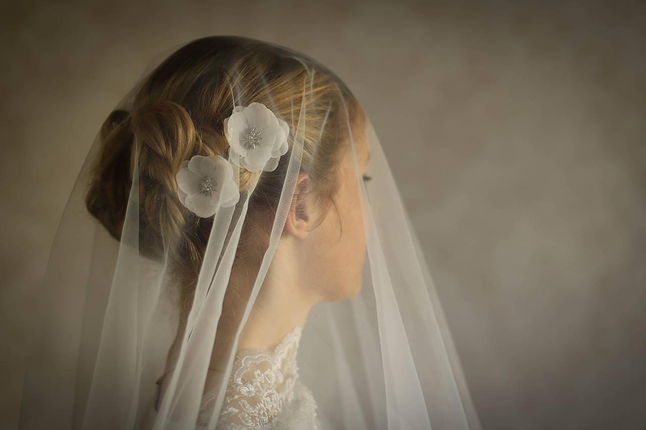 Ozdoby do vlasov - Jednoduchý svadobný závoj biely, ivory - 9347288_
