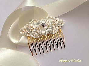 Ozdoby do vlasov - Izolda hrebienok swarovski (hrebienok v zlatej farbe) - 9345178_