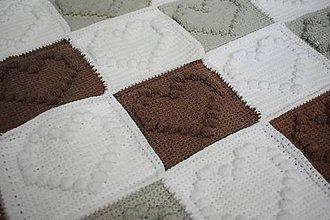Textil - Srdiečková deka šedá-hnedá-biela - 9349952_