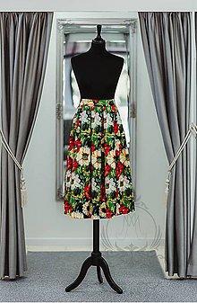 Sukne - Kvetovaná dámska skladaná midi sukňa - 9351281_