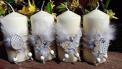Svietidlá a sviečky - veľkonočná sviečka ,,ivory,, - 9347550_