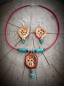 Sady šperkov - set Avokádové kvietky s Tyrkysom - 9349434_
