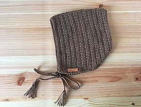 Detské čiapky - Detská čiapka - čepiec bavlna 1 - 2 r (Hnedá) - 9351073_