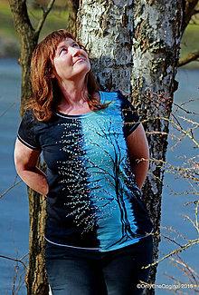 Tričká - Dámske tričko batikované, maľované JARNÁ NÔTA  - 9348937_