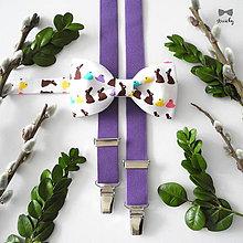 Doplnky - Pánsky motýlik a traky Veľkonočný zajko - 9351080_