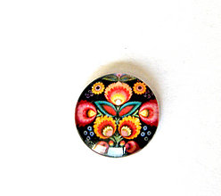 Komponenty - folk kaboson - cierny kvet 14mm - 9351815_