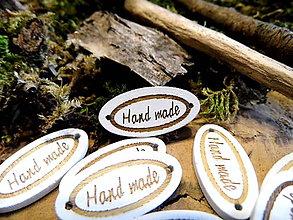 Galantéria - drevená aplikácia Hand made bielo zlatom - 9348918_