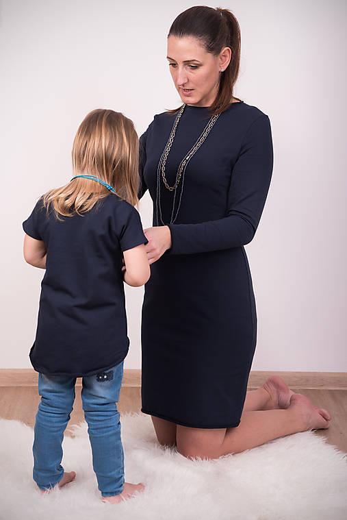 Setík - tmavomodré šaty a tunika pre malú dámu   miracles.style ... d2a6a3bd638