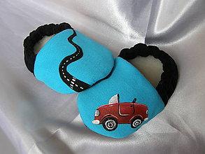 Topánočky - Detské papučky s autíčkom - modré - 9350699_