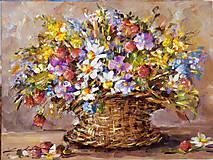 Obrazy - Farebná kôpka v košíčku - 9348264_