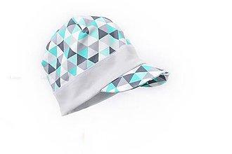Detské čiapky - Šiltovka Triangle mint - 9351232_