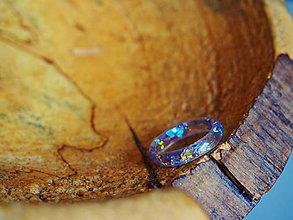 Prstene - Číry prstienok s fialovými trblietkami - 9349006_