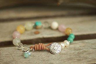 Náramky - Boho náramok z minerálov achát, ruženín, regalit, krištáľ - 9348235_