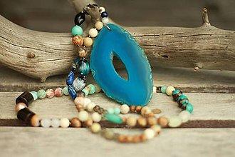 Náhrdelníky - Bohemian náhrdelník z minerálov achát, fosília, jaspis, amazonit... - 9349900_