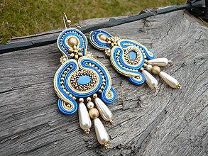 Náušnice - Soutache náušnice Golden and Royal Blue - 9353060_