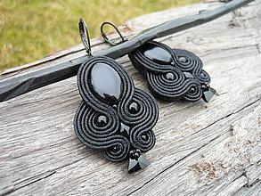 Náušnice - Soutache náušnice Black Elegant - 9353165_