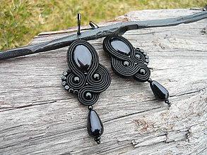 Náušnice - Soutache náušnice Black Elegant - 9353202_