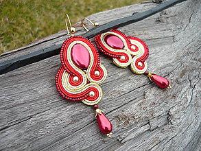 Náušnice - Soutache náušnice Luxury Pearl Red & Gold & Ivory - 9355453_