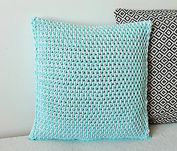 Úžitkový textil - Vankúš háčkovaný mint-svetlosivý - 9352627_