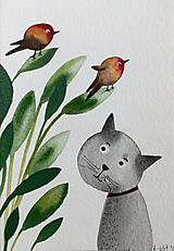 - Mačka a vtáčiky pohľadnica ilustrácia  / originál maľba  - 9353343_