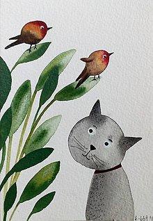 Papiernictvo - Mačka a vtáčiky pohľadnica ilustrácia  / originál maľba  - 9353343_