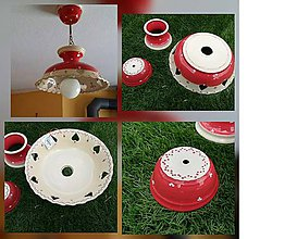Svietidlá a sviečky - Keramické tienidlo lampy - červený - 9353295_