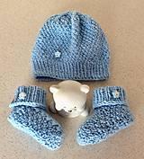 Detské súpravy - pletená súprava belasá - 9353956_